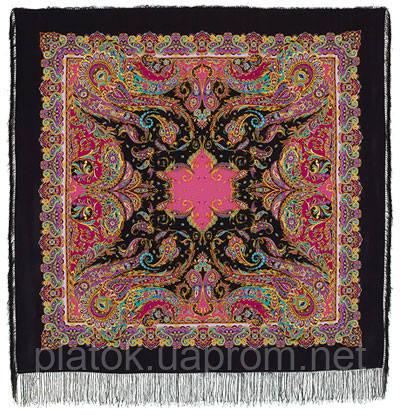Восточные сладости 1429-18, павлопосадский платок (шаль, крепдешин) шелковый с шелковой бахромой