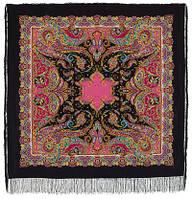 Восточные сладости 1429-18, павлопосадский платок (шаль, крепдешин) шелковый с шелковой бахромой, фото 1