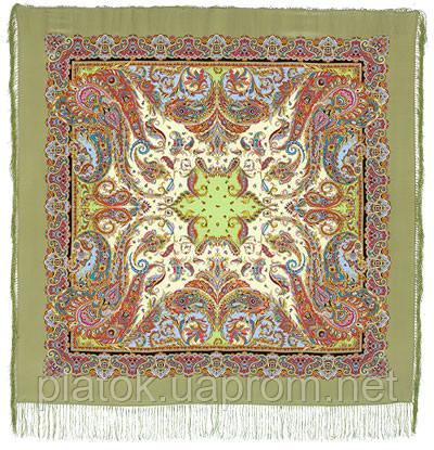 Восточные сладости 1429-2, павлопосадский платок (шаль, крепдешин) шелковый с шелковой бахромой