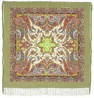Восточные сладости 1429-2, павлопосадский платок (шаль, крепдешин) шелковый с шелковой бахромой, фото 1