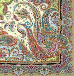 Восточные сладости 1429-2, павлопосадский платок (шаль, крепдешин) шелковый с шелковой бахромой, фото 3