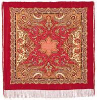 Восточные сладости 1429-5, павлопосадский платок (шаль, крепдешин) шелковый с шелковой бахромой