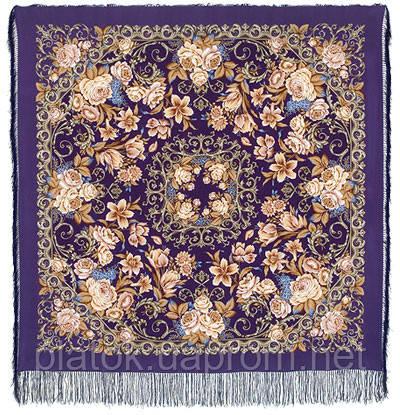 Королевский бал 1470-13, павлопосадский платок (шаль, крепдешин) шелковый с шелковой бахромой