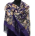 Королевский бал 1470-13, павлопосадский платок (шаль, крепдешин) шелковый с шелковой бахромой, фото 4