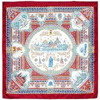 Ярославль 1383-4, павлопосадский платок (саржа) шелковый с подрубкой