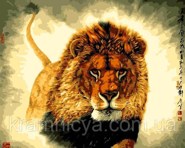 "Картина раскраска по номерам на холсте ""Царь зверей"", 40х50см, MG311"