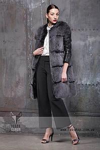 Меховое пальто трансформер из песца короткий кожаный рукав