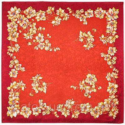 Дельфиниумы 1124-5, павлопосадский платок (жаккард) шелковый с подрубкой   УЦЕНКА!!!
