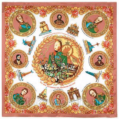 Герои войны 1812 года 1491-1, павлопосадский платок (атлас) шелковый с подрубкой