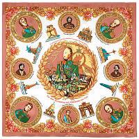 Герои войны 1812 года 1491-1, павлопосадский платок (атлас) шелковый с подрубкой, фото 1