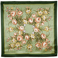 Жаворонок 770-10, павлопосадский платок (атлас) шелковый с подрубкой