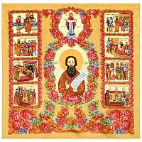 Житие Святого Праведного Василия Павловопосадского 1339-1, павлопосадский платок (атлас) шелковый с подрубкой
