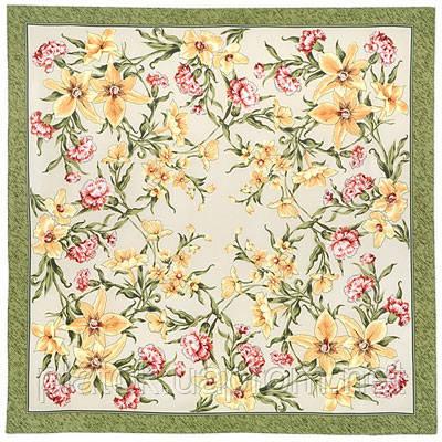 Аромат весны 899-10, павлопосадский платок (крепдешин) шелковый с подрубкой
