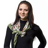 Аромат весны 899-10, павлопосадский платок (крепдешин) шелковый с подрубкой, фото 2