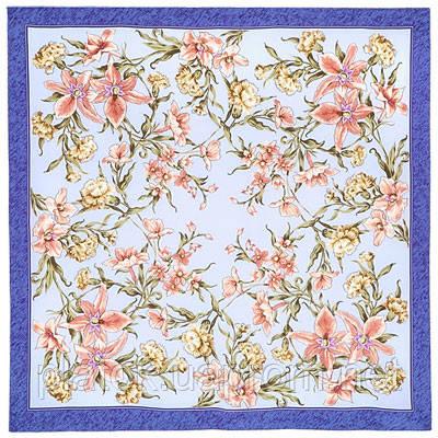 Аромат весны 899-13, павлопосадский платок (крепдешин) шелковый с подрубкой