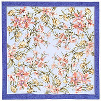 Аромат весны 899-13, павлопосадский платок (крепдешин) шелковый с подрубкой, фото 1