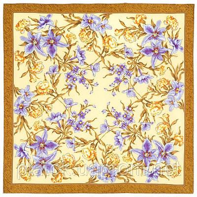 Аромат весны 899-16, павлопосадский платок (крепдешин) шелковый с подрубкой