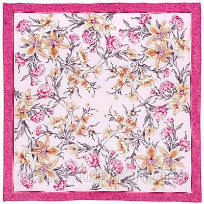 Аромат весны 899-2, павлопосадский платок (крепдешин) шелковый с подрубкой