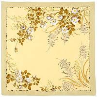Белый шиповник 1047-0, павлопосадский платок (крепдешин) шелковый с подрубкой