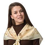 Белый шиповник 1047-0, павлопосадский платок (крепдешин) шелковый с подрубкой, фото 2