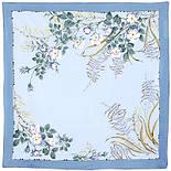 Белый шиповник 1047-1, павлопосадский платок шелковый (крепдешиновый) с подрубкой, фото 3