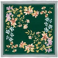 Гардения 868-9, павлопосадский платок (крепдешин) шелковый с подрубкой