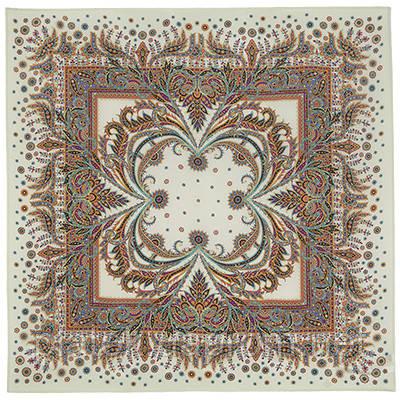 Коралловый бриз 1603-1, павлопосадский платок (крепдешин) шелковый с подрубкой