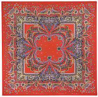 Коралловый бриз 1603-4, павлопосадский платок (крепдешин) шелковый с подрубкой