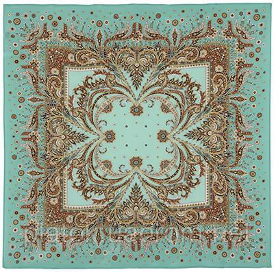 Коралловый бриз 1603-11, павлопосадский платок (крепдешин) шелковый с подрубкой
