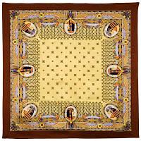 Скарабей 1252-16, павлопосадский платок (атласный) шелковый с подрубкой
