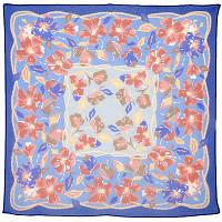 Клематисы 1201-13, павлопосадский платок (креп-жоржет) шелковый с подрубкой