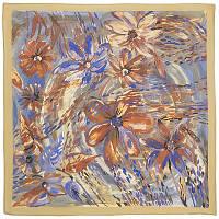 Нюанс 10006-2, павлопосадский шейный платок (крепдешин) шелковый с подрубкой
