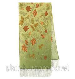 Чарівна алея 1051-60, павлопосадский шовковий шарф крепдешиновый з шовковою бахромою