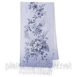 Зимова казка 10046-2, павлопосадский шовковий шарф крепдешиновый з шовковою бахромою