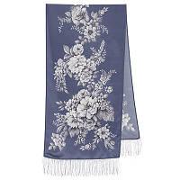 Зимняя сказка 10046-63, павлопосадский шарф шелковый крепдешиновый с шелковой бахромой
