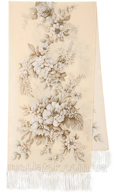 Зимняя сказка 10046-0, павлопосадский шарф шелковый крепдешиновый с шелковой бахромой