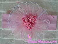 Повязка для девочки, розовая, фото 1