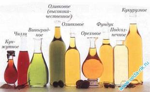 Растительные масла холодного отжима.