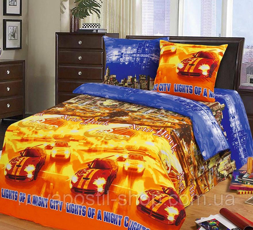 Ткань для детского постельного белья, бязь Огни большого города
