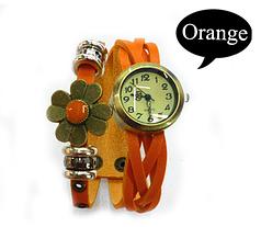 Женские часы с ремешком кожзам  и цветком (оранжевые) часы женские оригинал