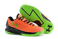 Баскетбольные кроcсовки мужские Under Armour Curry One Low SC30 Orange Lime Green