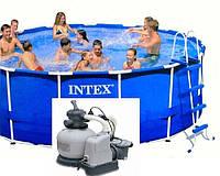 Каркасный бассейн Интекс (Intex 457x122 см) арт. 54946+Песочный фильтр-насос с хлорогенератором Intex 56678
