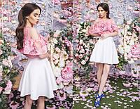 """Стильная женская короткая юбка 0471 """"Неопрен Клёш"""""""