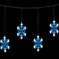Светодиодная гирлянда снежинки LED-SNOW-CL198-8-2,5M, фото 1