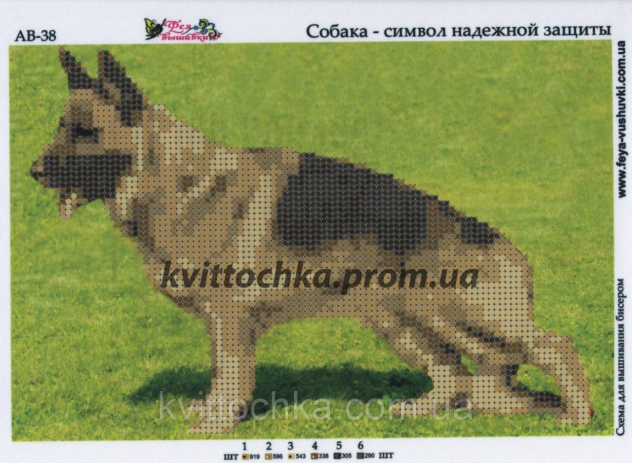 """Схема для вышивания бисером """"Собака - символ надежной защиты"""""""
