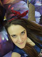 Повязка для волос бордовая в цветочный принт