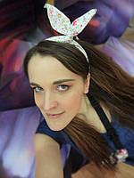 Повязка для волос белая в цветочный принт, фото 1