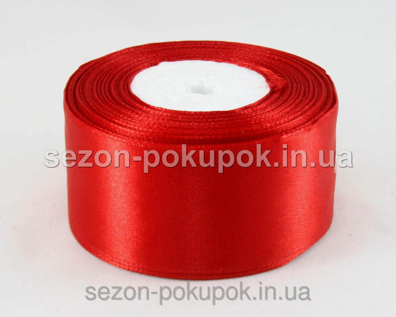 Лента атласная ширина 4 см (23 метра) цвет - красный