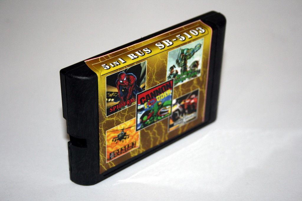 Картридж Sega 5в1 Road Rash 2 Doom Tropers Desert Strike