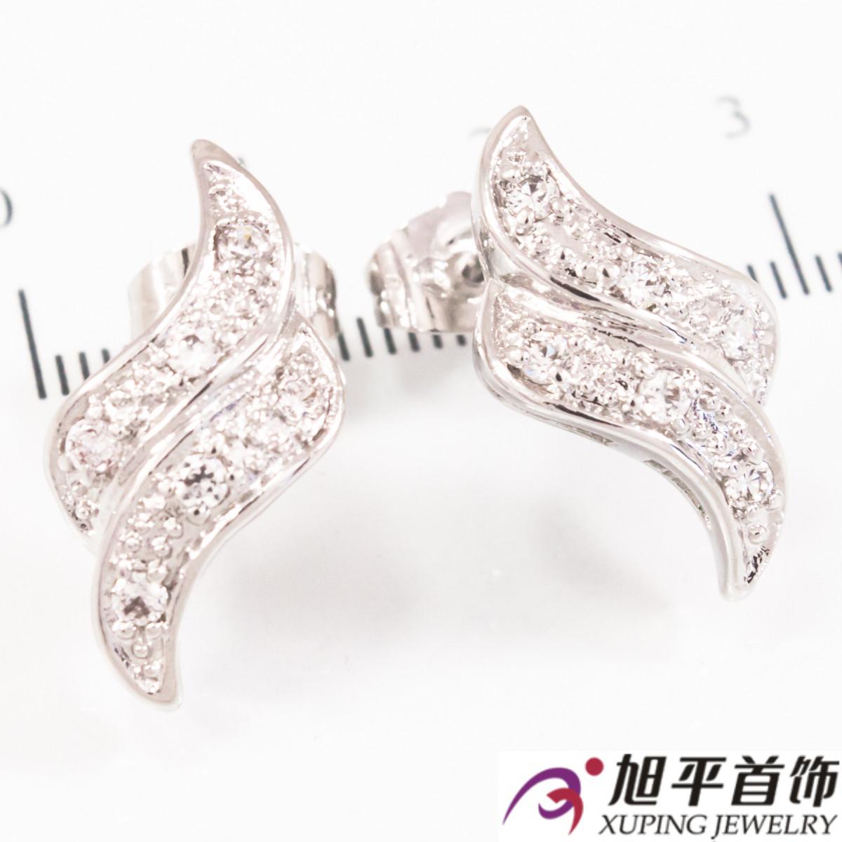 Серьги-гвоздики родиум Двойной изгиб (крупный), х3 камня
